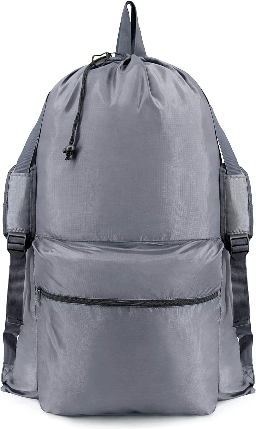 BeeGreen Laundry Bag Backpack with Zipper W24H36 Large College Laundry Bag with Shoulder Strap and Handles Laundry Tote for Dorm Camp Men Women Waterproof Machine Washable Gray