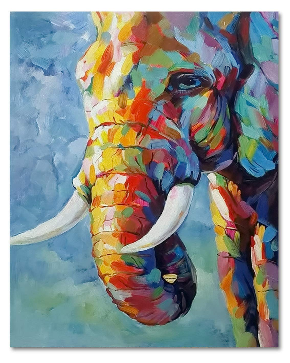 Lb Elephant Canvas Wall Art Watercolor Animal Indian Elephant Painting Canvas Prints Wall For Living Room Bedroom Bathroom Home Decor Framed Ready To Hang 16x20 Inches Amazon In Home Kitchen