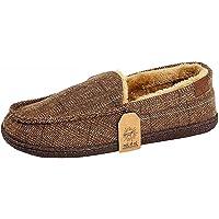 Jo & Joe Mens Faux Suede Luxury Fleecy Lined Slip On Tweed Moccasin Slippers Shoes Size 8-12