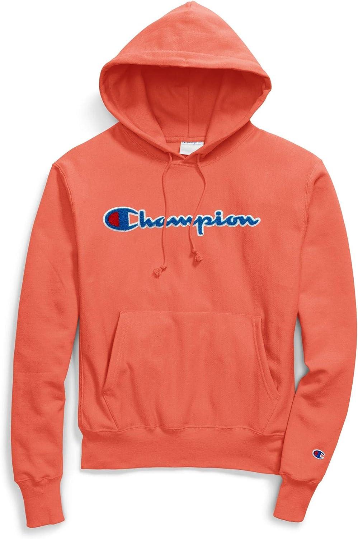 Champion Men/'s Reverse Weave Chenille Script Fleece Pullover Hoodie