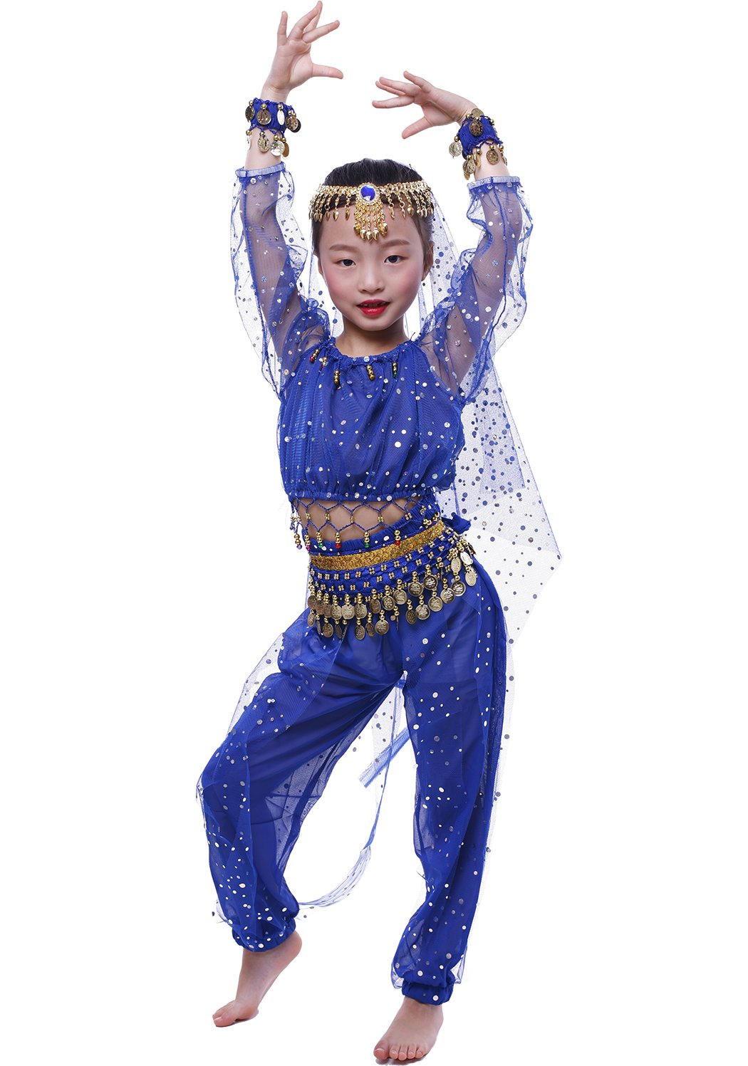 Astage Little Girl`S Belly Dance Costumes,Long Sleeve Highlights Top,Pants Royal Blue (S fits Unders 47in)
