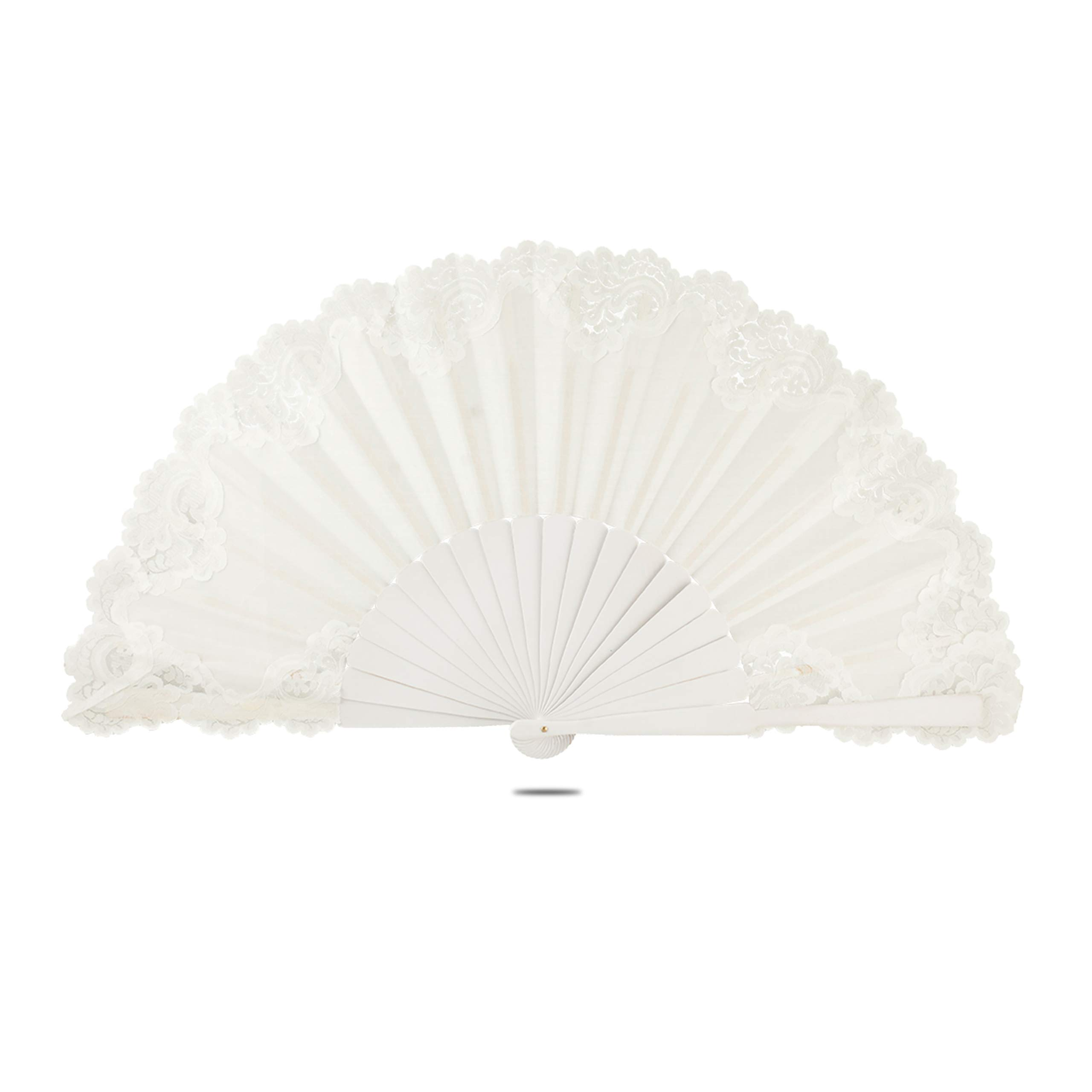 Ole Ole Flamenco Spanish Hand Fan Pericon with lace Large 13 inch 33 cm Handmade Made of Wood and Fabric Abanicos Españoles White with White Lace