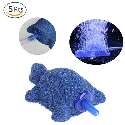 Jiamins - Juego de 5 difusores de piedra de aire con forma de tortuga para acuario