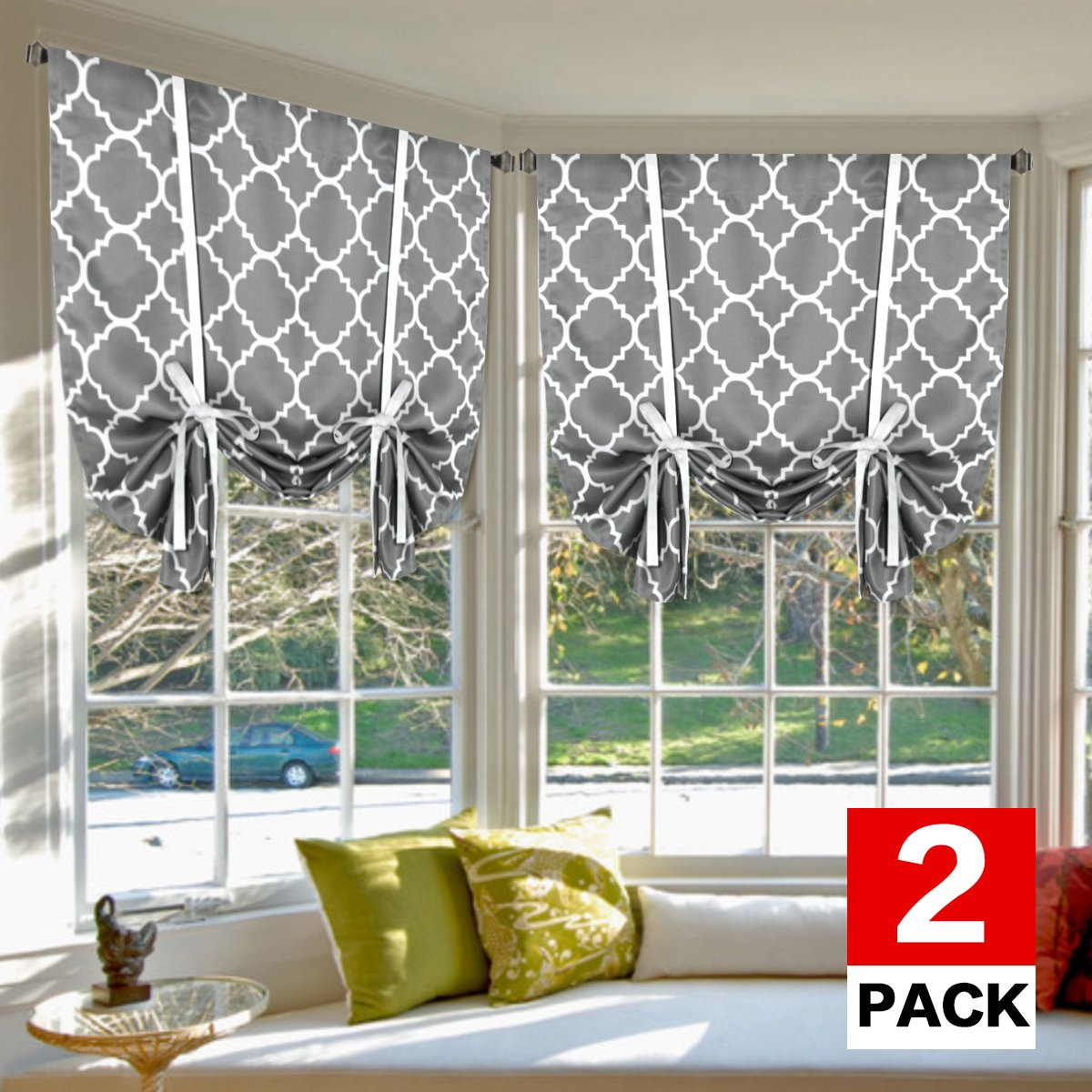 H.VERSAILTEX Thermal Insulated Blackout Curtains - Tie Up Shades for Kitchen Rod Pocket Printed Curtains for Small Window, 2-Pack, 42 x 63 Inch Long - Moroccan Tile Quatrefoil Grey Pattern