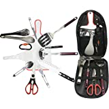 Bisgear 13pcs Backpacking Camping Cookware Kitchen Utensil BBQ Organizer Travel Mess Kit with Water Resistant Case, Cutting Board, Rice Paddle, Tongs, Scissors, Knife, Spork, Wine Opener