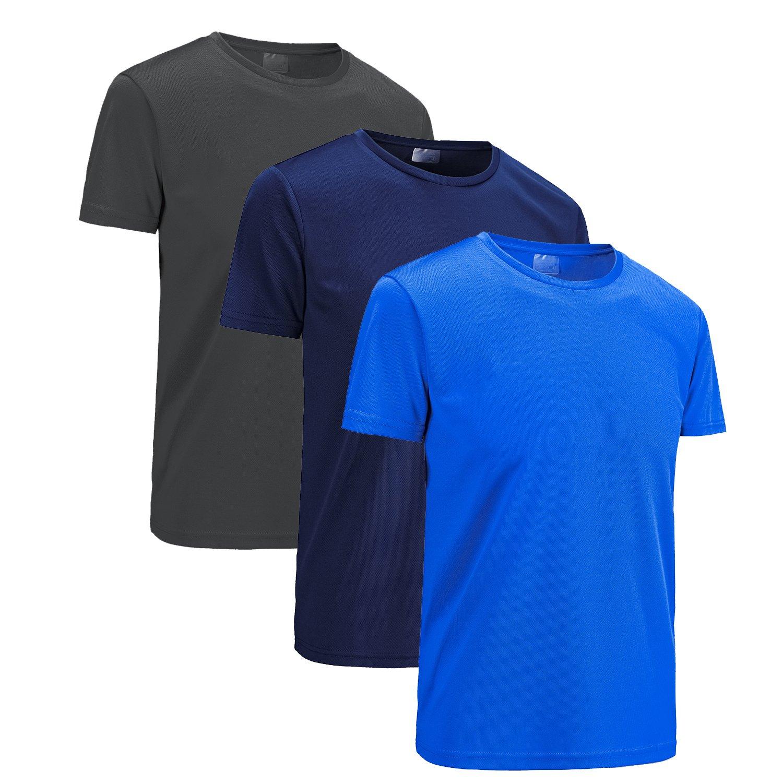 KORAMAN メンズ 軽量 速乾 半袖 アスレチック パフォーマンス Tシャツ 3枚または1枚パック Asian 5XL/US XL(chest 46.06\ 3 Pack : Black, Darkblue, Lakeblue B07CFKRD1F