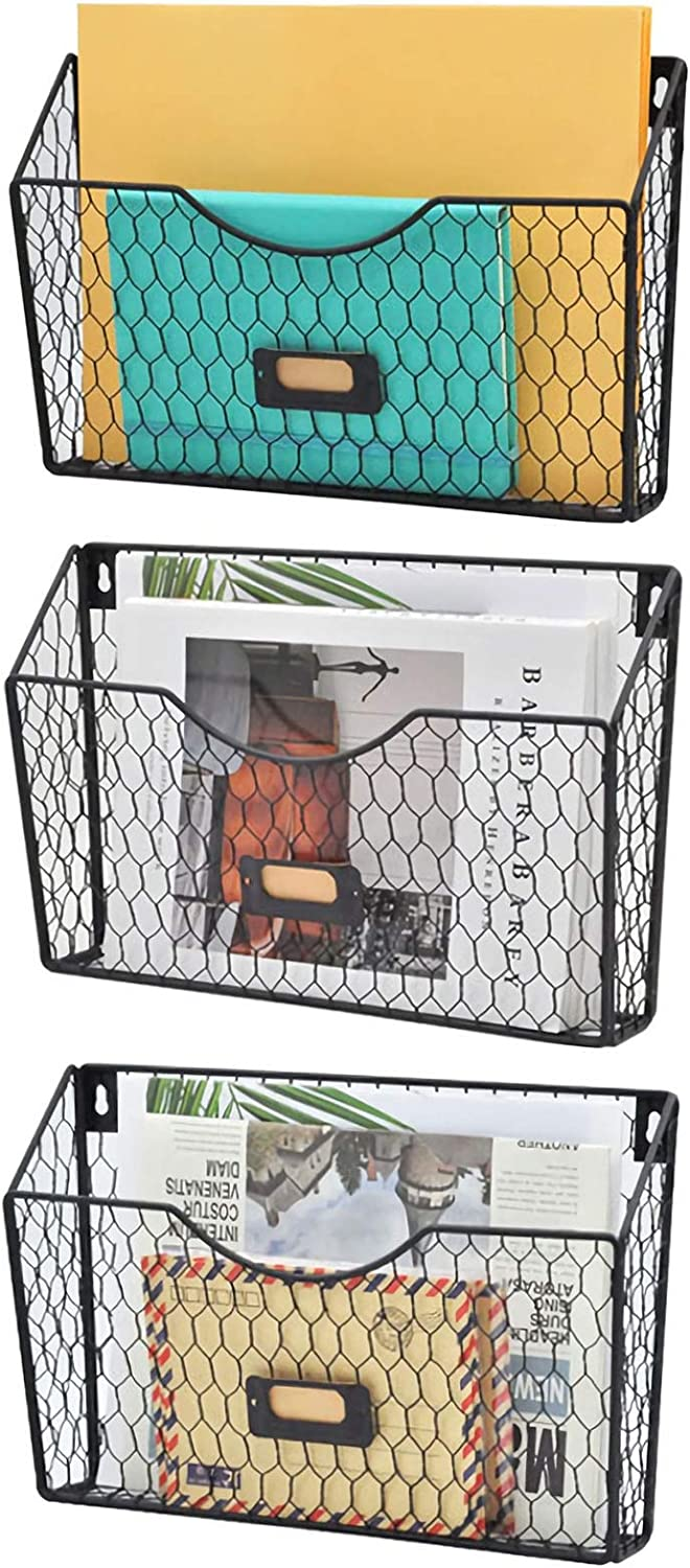 EASEPRES Wall File Organizer, 3 Pockets Hanging File Holder Metal Chicken Wire Magazine Rack Mounts on Wall and Door with Tag Slot for Office, Home, Black
