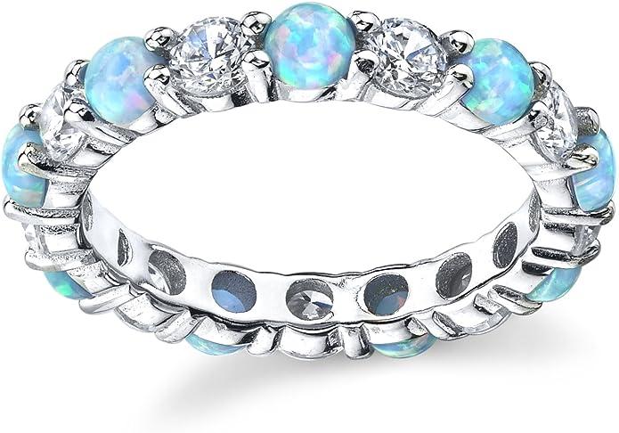 Bague de mariage /éternit/é en argent avec opale bleue et rose et zircone cubique 3.5mm