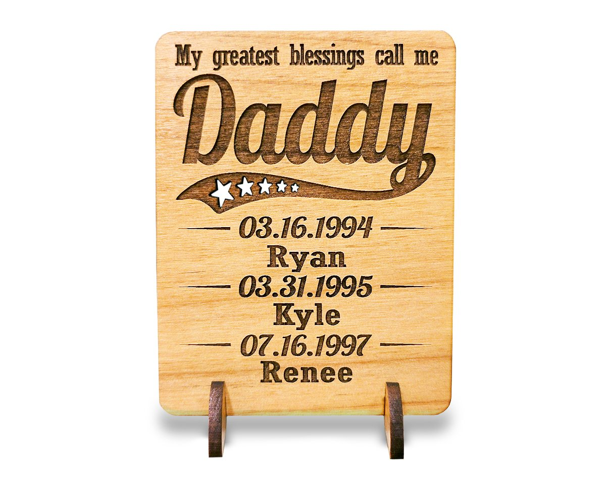 Unique Dad Greeting Card Personalized Fathers Day Gift Dad Card for Birthday Christmas Father of The Bride Thank You Cards Handmade Display Wood Card (Dad)