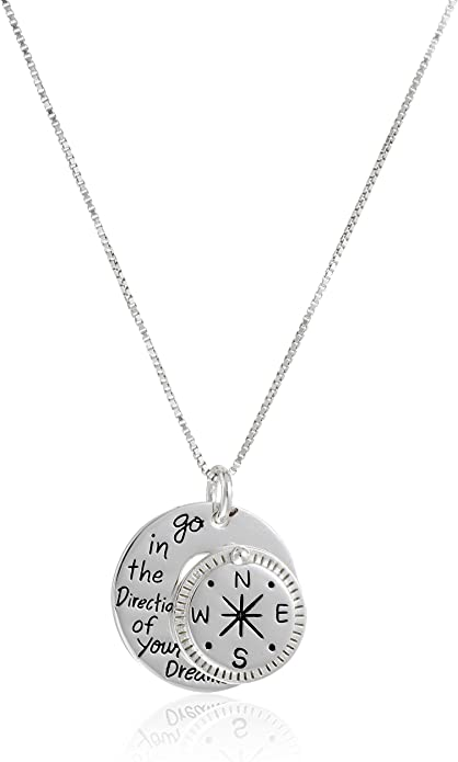 """super cute silver pendant,18/"""" silver chain Tiny Compass Necklace from USA"""