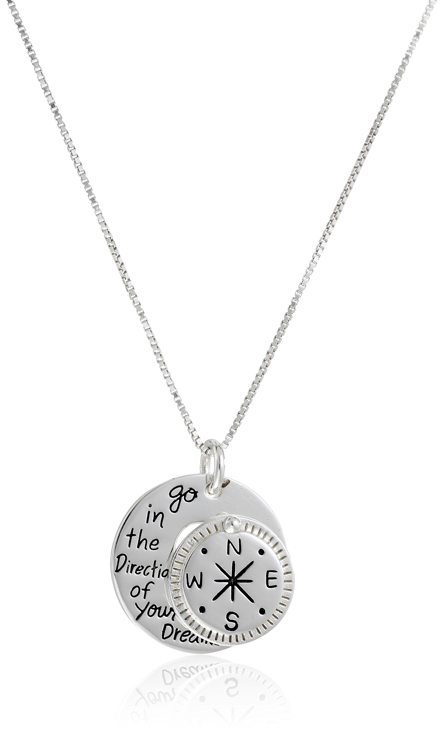 Sterling Silver ''Go in the Direction Of Your Dreams'' with Compass Pendant Necklace, 18''