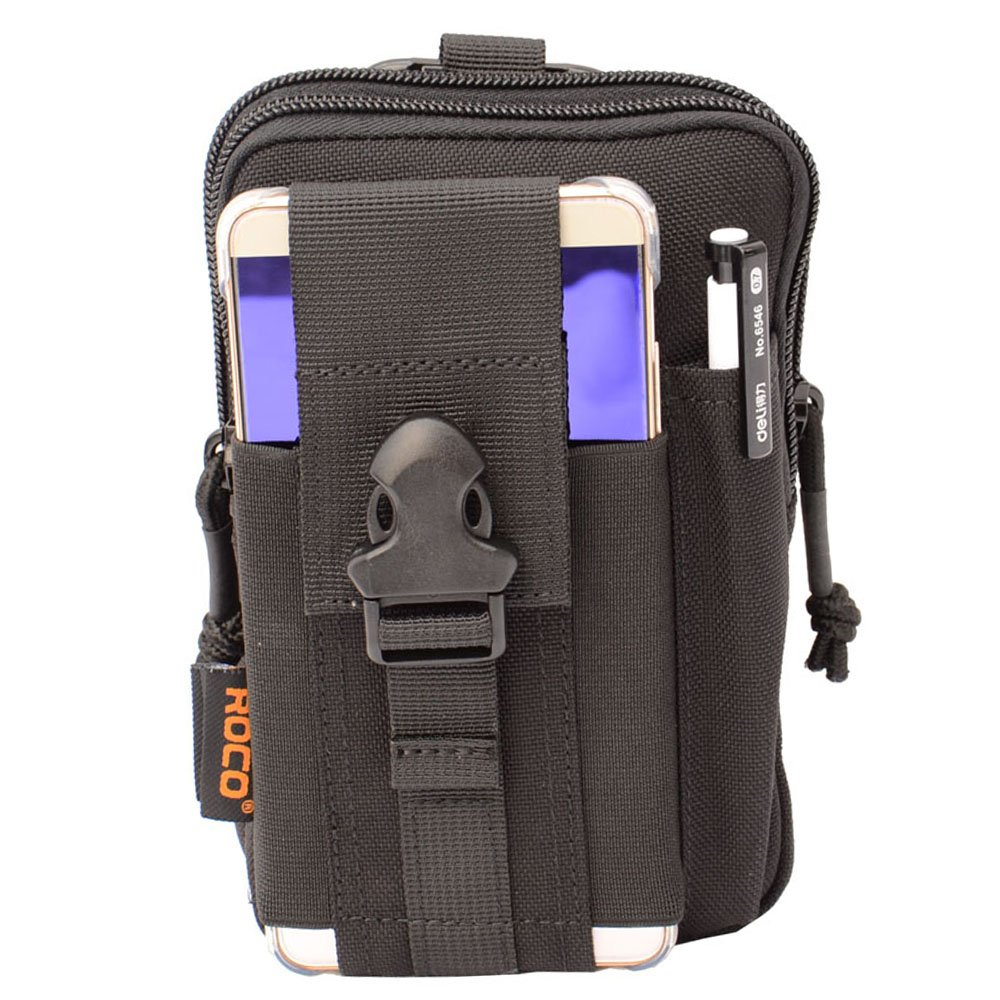 Compact Tactical Molle EDC Pouch Utility Gadget Belt Waist Bag with Cell Phone Holster Holder for Iphone 6 Plus, 1000D Nylon (Black)