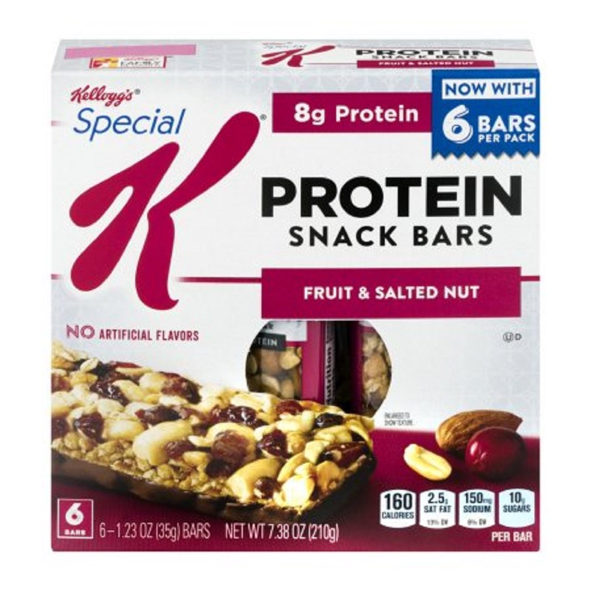Protein Snack Bars Fruit & Salted Nuts 6 Bars/Box ( 3 boxes) Kellogg's Special K