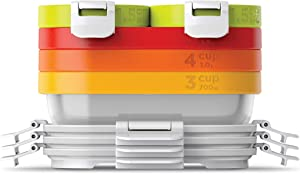 Zoku Neat Stack 11-Piece Food Storage Set, Color-Coded Nesting Containers with Innovative Freezer Pack and Leak-Proof Lids, Microwave, Freezer and Dishwasher Safe