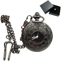 Aolvo Reloj de bolsillo grabado para hombres y mujeres, carcasa hueca números romanos clásicos, reloj de cuarzo, estilo retro, mini reloj de bolsillo con cadena de clip de cinturón y caja de regalo, accesorios de regalo ideales