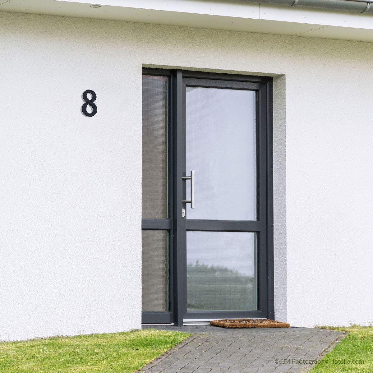 Thorwa/® verschn/örkelte Design Edelstahl Hausnummer Cabaletta Stil H: 160mm RAL 7016 4 anthrazit pulverbeschichtet