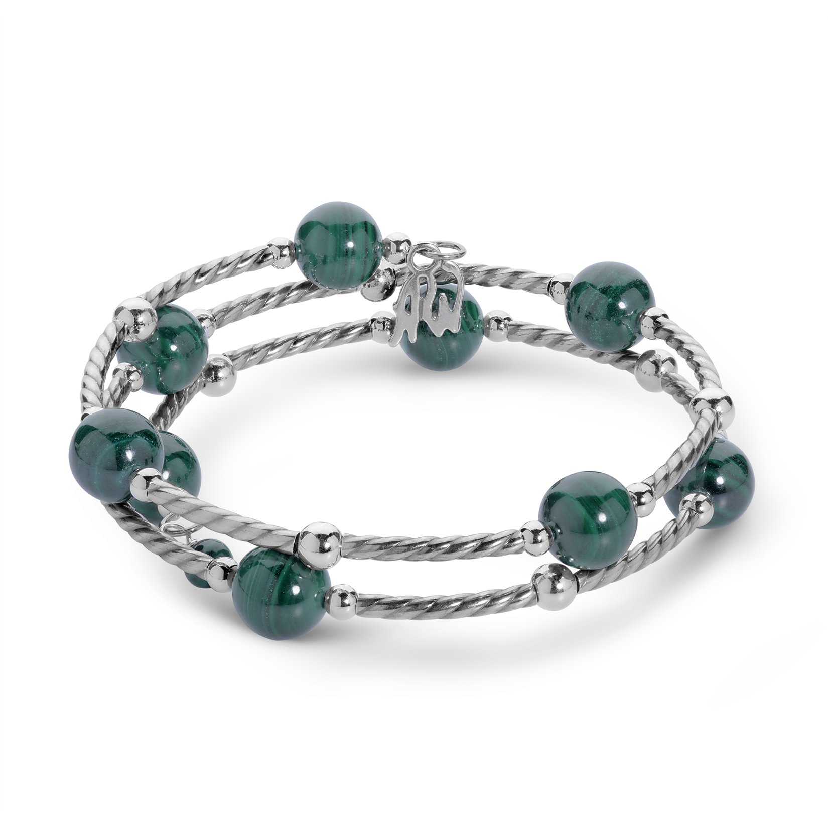 American West 925 Sterling Silver Malachite Coil Bracelet - Classics Collection