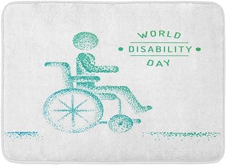 Kanaite Alfombrilla para discapacitados Gente Blanca Hombre en Silla de Ruedas Silueta Día Mundial Los discapacitados Puntos Dibujados Silla Decoración de baño Alfombra: Amazon.es: Hogar