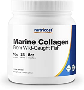Nutricost Marine Collagen Peptides 8oz from Wild Caught Alaskan Fish, Premium, Hydrolyzed Protein Powder