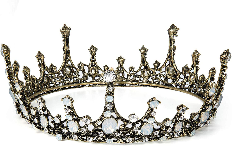 Czemo Tiara de Novia para Mujer Corona Barroca Cabello Joyería Rhinestone Diadema para Boda Pageant