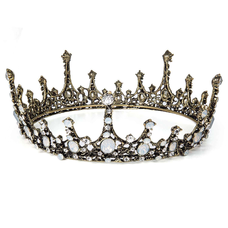 Pageants Princesse Parties Tiare Baroque Bijoux de Cheveux Mari/ée pour Mariage Czemo Couronne de Mariage Noir Diad/ème de Strass pour Femme