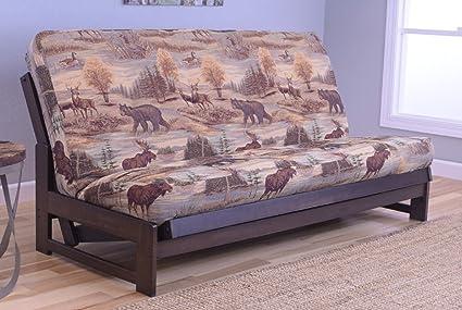 Colorado Reclaim Mocha Frame and Mattress Set w/ Choice of Fabrics, 7 Inch Innerspring Futon Sofa Bed Full Size Aspen Style (Frame w/ Canadian)