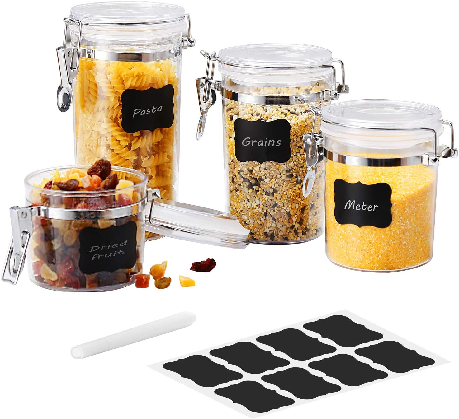 Airtight Acrylic Canister Set of 4 - Farochy Food Storage Jar, Airtight Food Storage Containers with Locking Clamp, Clear Jars for Flour, Tea, Sugar, Coffee, Candy (Labels & Chalk Included)