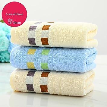 Toallas, toalla de algodón conjunto de 3 toallas lavado de combinación toalla de cara adulto