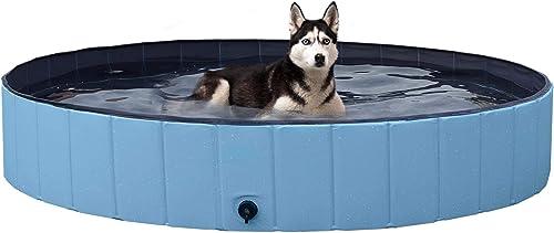 YAHEETECH-Blue-Foldable-Hard-Plastic-Dog-Pet-Bath-Swimming-Pool