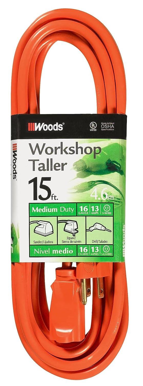 Woods 0266 16/3 SJTW General Purpose Extension Cord, Orange, 15-Foot