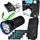 Rechargeable Kit: Olight X7 Marauder 9000 Lumen LED flashlight/searchlight, 4 X 3500mAh Rechargeable Olight Batteries, charger and EdisonBright USB reading light (Cool White beam)