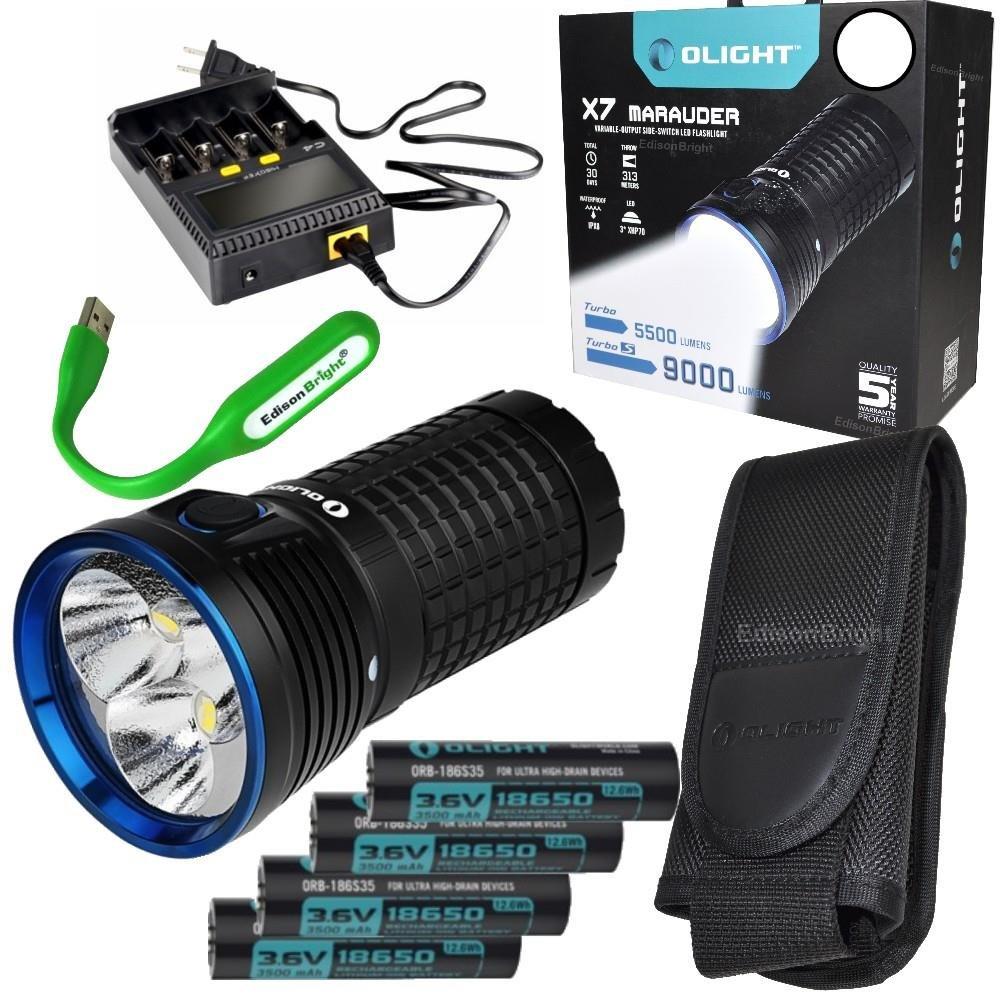Rechargeable Kit: Olight X7 Marauder 9000 Lumen LED flashlight/searchlight, 4 X 3500mAh Rechargeable Olight Batteries, charger and EdisonBright USB reading light (Cool White beam)