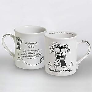 Enesco Husband and Wife Stoneware Gift Mug, 16 oz, Multicolor