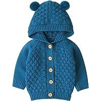 Abrigo de Suéter de Invierno para Bebés Unisex Cárdigan con Capucha Manga Larga Tejido Casual Suave Cálido 0-24 Meses