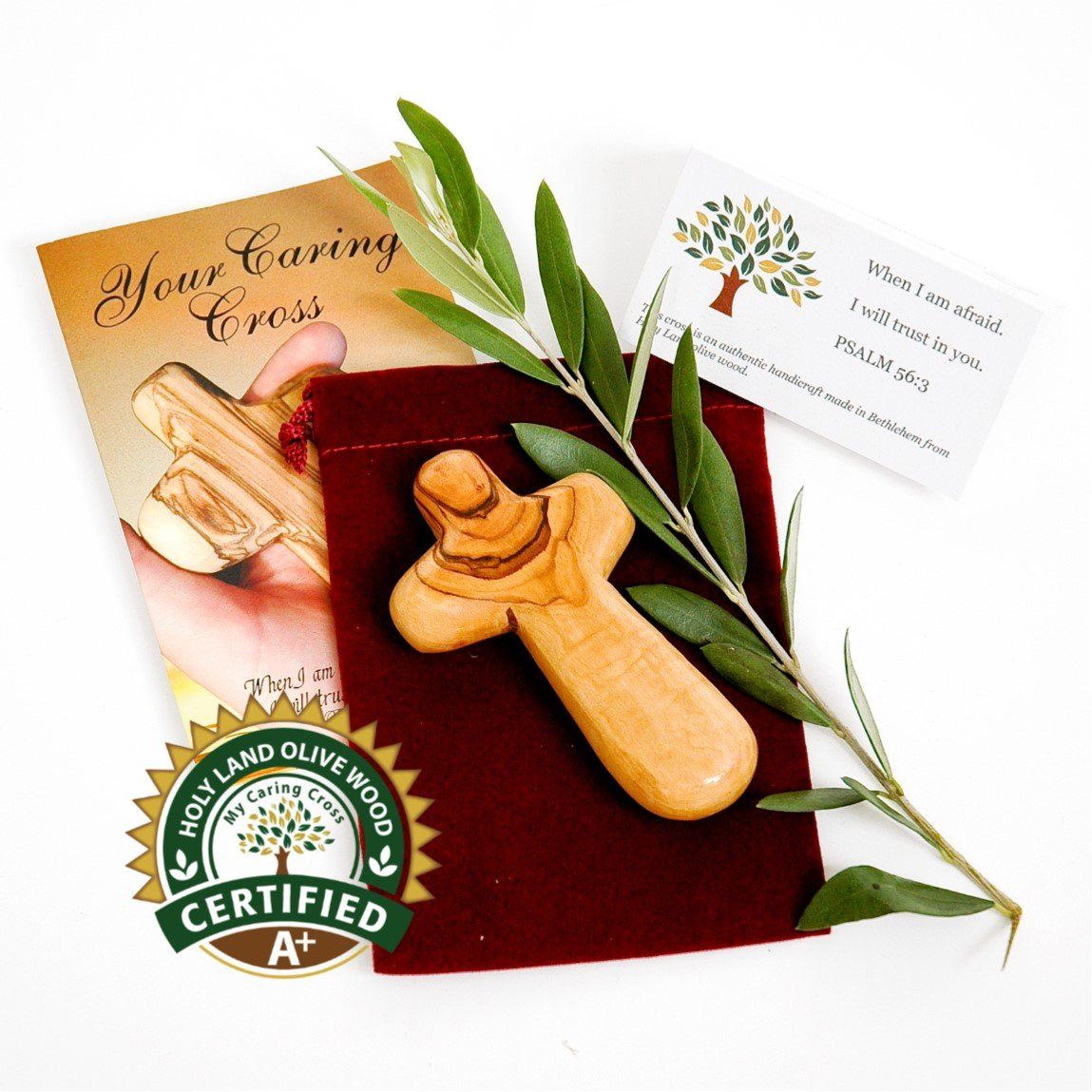 Olive wood Holding Cross comes with Velvet bag & Certificate Holy Land Imports BAB0336L_B
