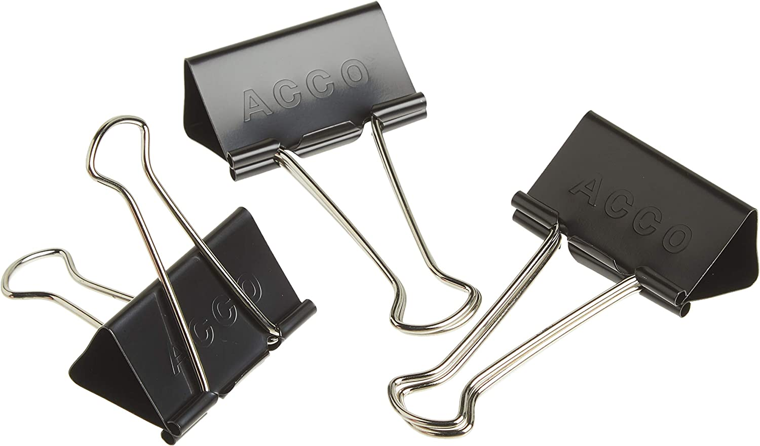 2 Boxes 72102 12 Clips//Box Large Black ACCO Binder Clips