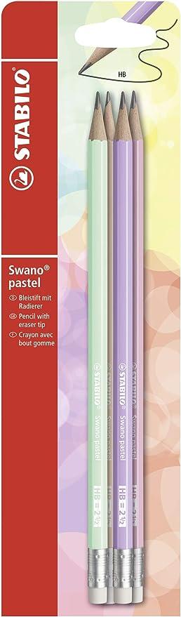 STABILO B-55585-10 - Lápiz con goma swano pastel - Pack con 4 lápices, varios colores: Amazon.es: Oficina y papelería