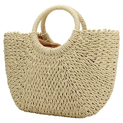 a9d1da03ba39 Women Summer Beach Bag, Straw Handbag Top Handle Big Capacity Travel Tote  Purse Hand Woven Straw Large Hobo Bag