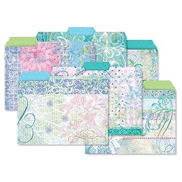 Letter-Size 3 designs 12 Sentiment Garden File Folder 1//3 Cut Staggered Tabs