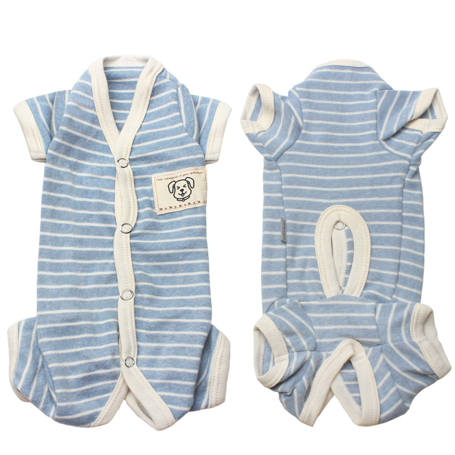 TONY HOBY Female/Male Pet Dog Pajamas Stripes 4 Legged Dog pjs Jumpsuit Soft Cotton Dog Clothes(L, Blue+White-Boys)