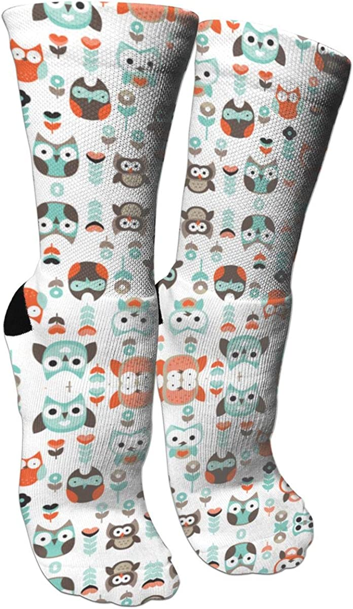Colorful Cute OwlCrazy Socks Casual Cotton Crew Socks Cute Funny Sock Great For Sports And Hiking