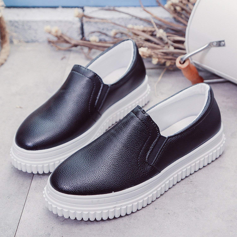 Fuxitoggo Schuhe Pure Farbe rund mit Casual Schuhe wasserdicht Plattform PU Low flach mit Damen Schuhe (Farbe   Schwarz Größe   39)