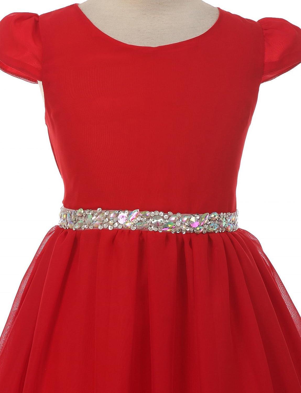 de88f483b843 Amazon.com: Girls Dress Short Sleeve Chiffon Rhinestone Belt Holiday Party Flower  Girl Dress: Clothing