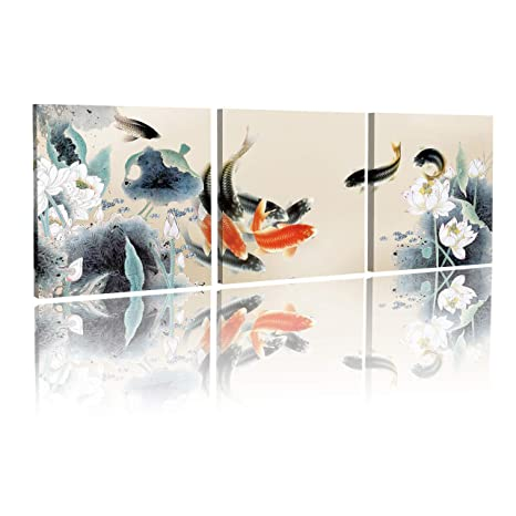 JAPANESE KOI FISH ORIENTAL CANVAS WALL ART PRINT PICTURE POSTER READY TO HANG
