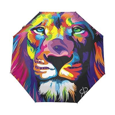 4869603121e0 DOENR Compact Travel Umbrella Artistic Lion Sun and Rain Auto Open ...