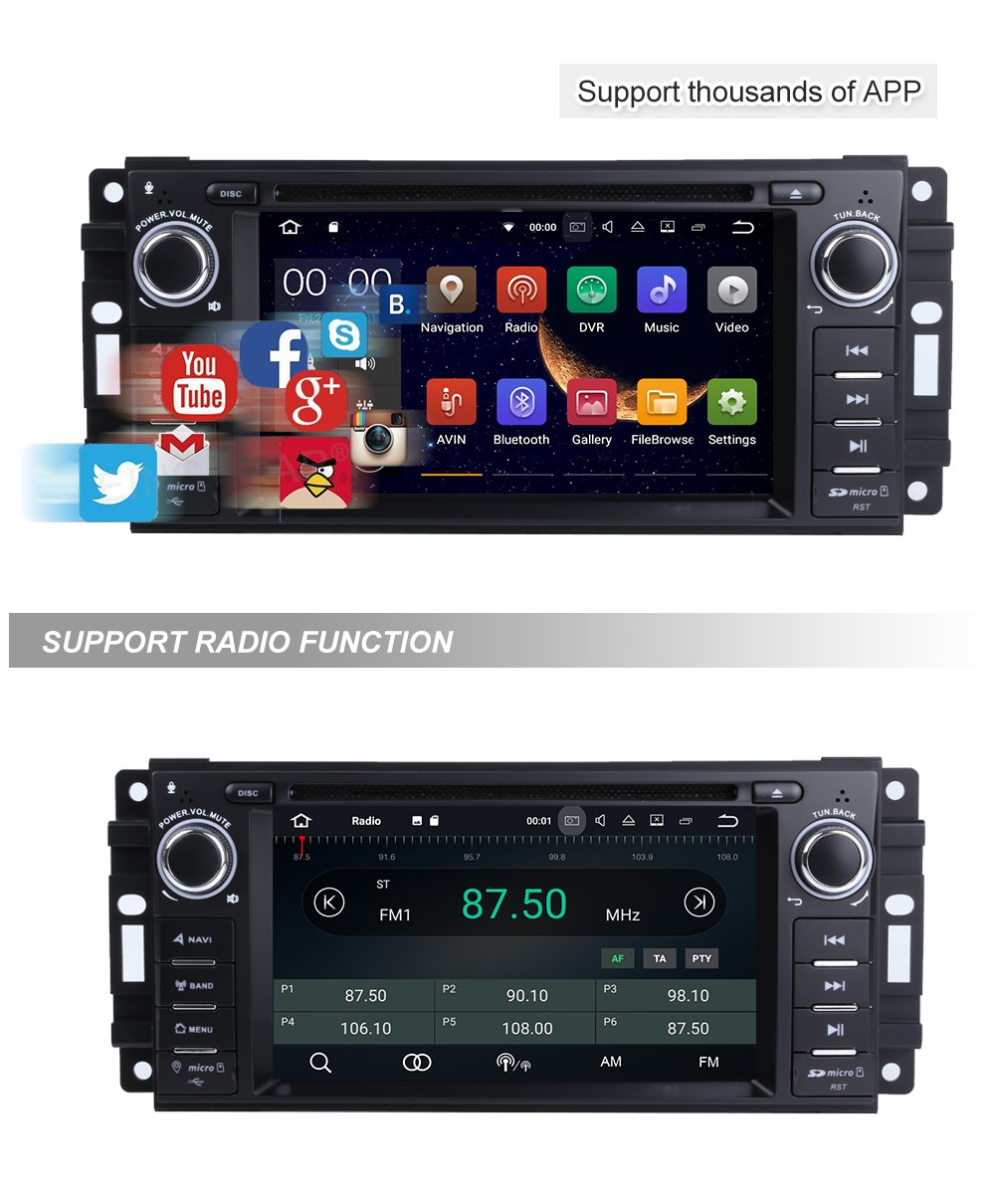 Mcwauto Android 71 Car Stereo Gps Dvd Player For Dodge Wiring Harness Amazoncom Wire Ram Challenger Jeep Wrangler Jk Head Unit Single Din 62 Touch Screen Indash Radio