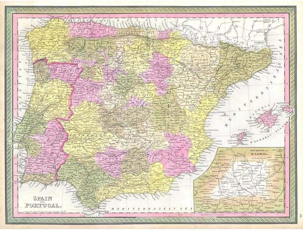Wee Blue Coo 1850 Mitchell Map Spain and Portugal Vintage Unframed Wall Art Print Poster Home Decor Premium