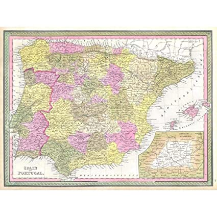 Map Of Spain To Print.Wee Blue Coo 1850 Mitchell Map Spain And Portugal Vintage Unframed Wall Art Print Poster Home Decor Premium