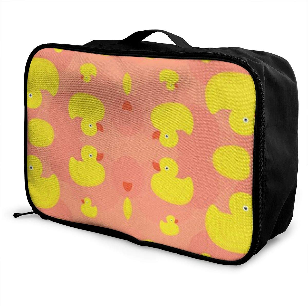 Pink Canvas Travel Weekender Bag,Fashion Custom Lightweight Large Capacity Portable Luggage Bag,Suitcase Trolley Bag ADGAI Rubber Duck