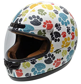 NZI 050323G707 Activy Junior Pawprints Casco De Moto, Multicolor, Talla 55-56 (